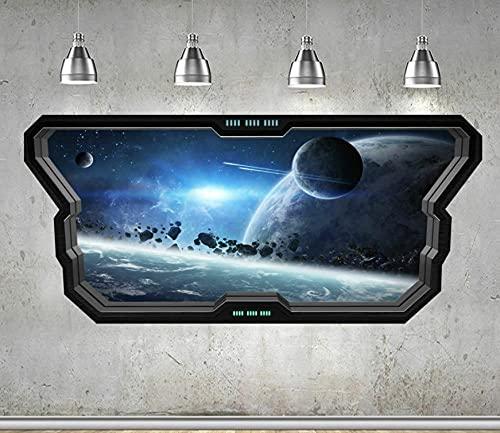 3DLookWandtattoo 60x90cm SPACE WALL STICKER WINDOW 3D LOOK - MOON PLANET GALAXY STARS JUNGEN SCHLAFZIMMER Wandtattoos Tätowierungen