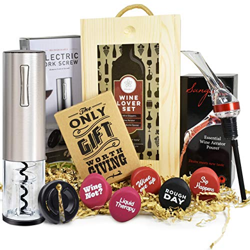Wine Gift Set - Includes Stainless Steel Electric Wine Opener, Wine Aerator, 6 Wine Stoppers and Beautiful Wooden Box