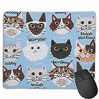 マウスパッド 多種のネコ パターン Mousepad ミニ 小さい おしゃれ 耐久性が良 滑り止めゴム底 表面 防水 コンピューターオフィス ゲーミング 25 x 30cm