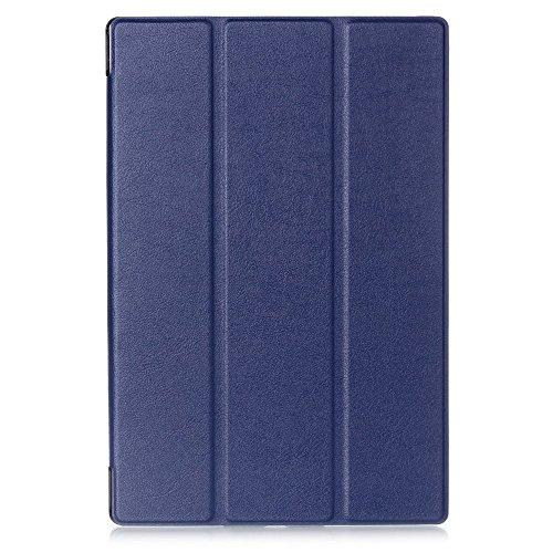 【Trocent】Sony xperia Z2 tablet ケース SONY SGP511 / SONY SGP512 / au SOT21 / docomo SO-05F ケース スタンド機能付き 三つ折型 超薄型 内蔵マグネット開閉式 PUレザーカバー スリープ喚起機能付けケース (Z2 Tablet, 三つ折ブルー)