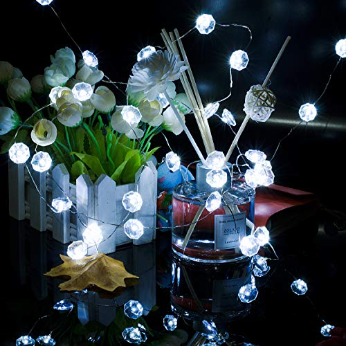 Luci di Natale, Lauva luci decorative a batteria 3 m 40 LED string luci con telecomando per interni ed esterni, DIY Home New Year party vacanza decorazione di nozze ornamenti Diamond-transparent