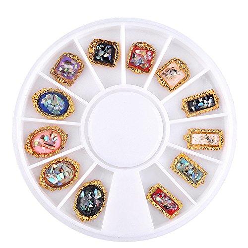 YUYOUG 3D 1 Boîte Shell Dazzling Conseils Nail Sticker Paillettes Coloré Nail Art Décoration