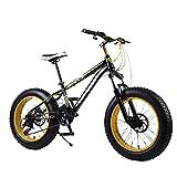 Mnjin Deportes al Aire Libre Fat Bike, 20 Pulgadas, 7 velocidades, Velocidad Variable, Nieve, Playa, Bicicleta Todoterreno, Ciclismo al Aire Libre para Hombres