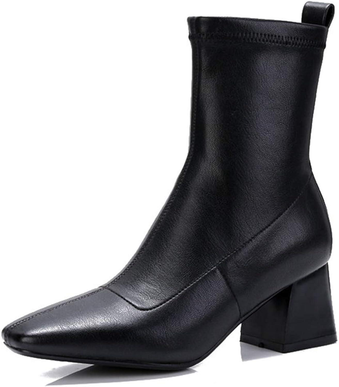 T -JULY Autumn Winter mode kvinnor Warm Ankle stövlar High klackar Stretch Martin skor