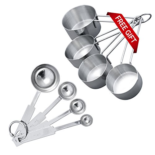 Premium Stainless Steel Grade Measuring Cups And Spoons By Benchusch – Set Of 4pcs Professional Kitchen Hardware For Precise Measuring – The Best Choice For Cooking And Baking