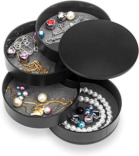 Joyero con espejo, organizador apilable de 4 cajones, organizador de accesorios, vitrina para pendientes, collares, pulseras, anillos, relojes, color negro