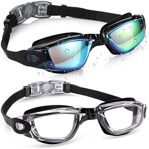 Aegend 2 Pack Swim Goggles Swimming Goggles No Leaking Anti Fog UV Protection Crystal Clear product image