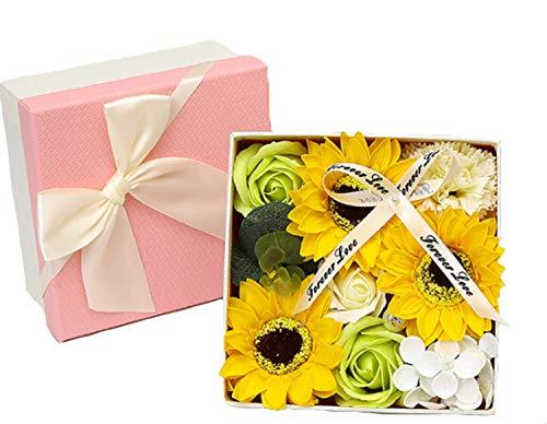 ソープフラワー 石鹸花 カーネーション バラ ボックス入り 母の日 還暦祝い 誕生日 記念日 敬老の日 先生の日 プレゼント バレンタインデー 結婚祝い 昇進 お見舞い ギフト 造花 (ひまわり)