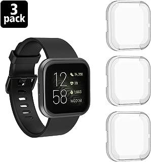 Protector de pantalla TiMOVO compatible con Fitbit Versa 2, [3-Pack] Funda protectora de TPU suave con cubierta de cuerpo completo, Fitbit Versa 2 Smart Watch Cubierta de pantalla de reloj resistente a los arañazos - Blanco
