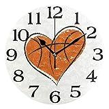 Linomo Heart Shape Ball Basketball Wall Clock Decor, Silent Non Ticking Round Clock Quiet for Kitchen Living Room Bedroom Bathroom Office