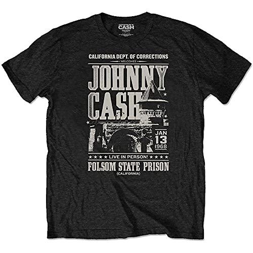 Rock Off Johnny Cash T Shirt Folsom Prison Manifesto Nuovo Ufficiale Eco Uomo Size L