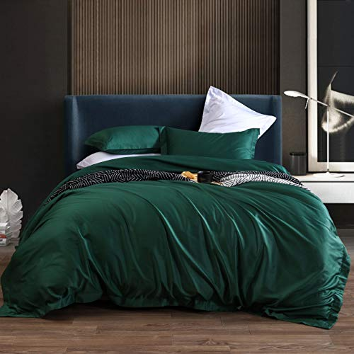 L LOVSOUL Duvet Cover Set Queen,3 Piece Bedding Sets 100% Egyptian Cotton 1200 Thread Count 1 Comforter Cover and 2 Pillow Cases,Green-90x90Inches