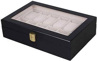 HEMFV Watch Box 12 Slots Watch Organizer Jewelry Display Case Storage with Glass Top Multi Functional Storage Organizer