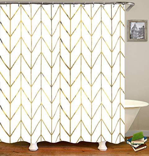 "JTMall Shower Curtain with Gold Chevron, Geometric Pattern, Gold Shower Curtain Hooks/Rings, White Fabric, 72"" x 72"", Bathroom Decor (Golden Stripes)"