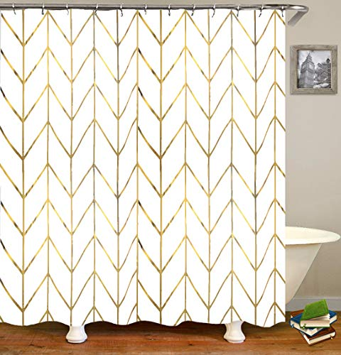 10 best shower curtain gold stripe for 2020