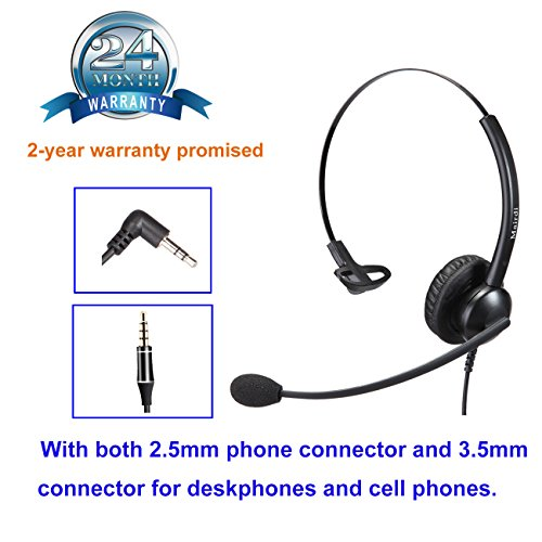 MAIRDI 2,5mm Telefon Headset mit Noise Cancelling Mikrofon CallCenter Headset Festnetztelefone Kopfhörer für Cisco SPA Linksys Siemens Gigaset Panasonic Grandstream Polycom DECT Schnurlostelefon