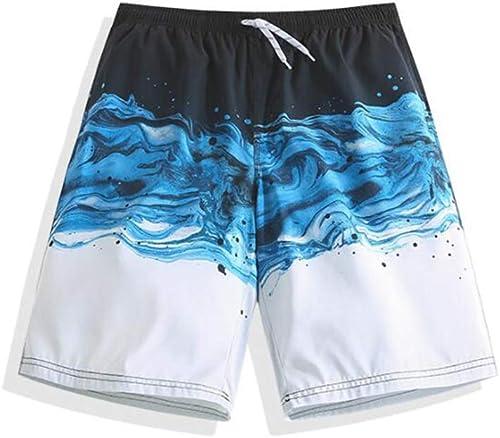 Été Hommes Plage courtes Fibre De Polyester Les Sports Confortable Les Loisirs Vacances Bord De Mer courtes Noir Bleu Blanc Couture Modèle (Taille   L)