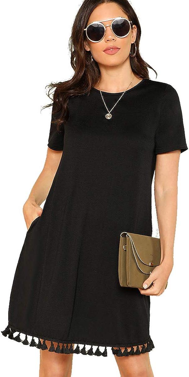 Romwe Women's Summer Short/Long Sleeve Pocket Tassel Hem Loose Tunic T-Shirt Dress