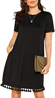 Romwe Women's Summer Short Sleeve Pocket Tassel Hem Loose Tunic T-Shirt Dress