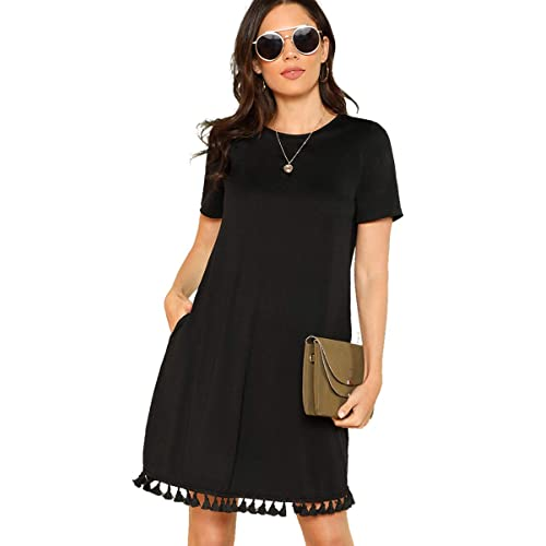 5ac744da95f Romwe Women s Summer Short Sleeve Pocket Tassel Hem Loose Tunic T-Shirt  Dress
