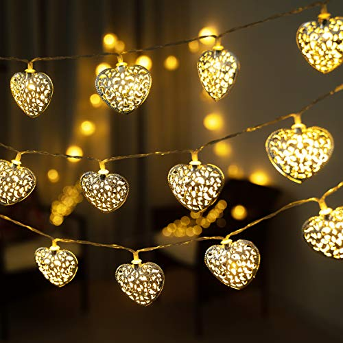 GIGALUMI 20 LED Heart String Lights Metal Fairy Lights Battery Operated Decorative Lights Warm White for Bedroom, Livingroom, Christmas, Wedding, Party, Indoor and Outdoor