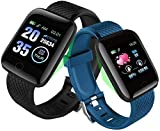 Reloj inteligente pulsera de frecuencia cardíaca, monitor de actividad física, medición de la presión arterial, podómetro, banda inteligente resistente al agua (color: verde) - negro