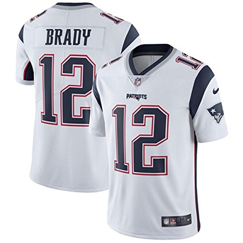 NIKE #12 New England Patriots Tom Brady Men's White Football Jersey (Medium)