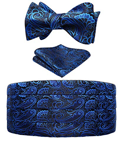 Men's Floral Paisley Silk Cummerbund & Self Bowtie and Pocket Square Set,Blue&black,One Size