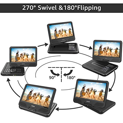 """WONNIE 2020 Upgrade 12.5"""" Portable DVD Player with 10.5 inches 270° Swivel Screen Built-in Rechargeable Battery SD Card and USB, Direct Play in Formats AVI/MP3/JPEG/RMVB (12.5, Black)"""
