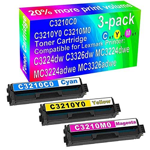 3-Pack (C+Y+M) Compatible C3224dw C3326dw MC3224dwe MC3224adwe MC3326adwe Laser Printer Cartridge High Yield Replacement for Lexmark (C3210C0 C3210Y0 C3210M0) Toner Cartridge