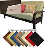 OctoRose Full Size Sage Elastic Around on Backing Bonded Micro Suede Easy Fit Fitted Futon Cover Sofa Bed Mattress Slipcovers (Sage Green) (Cover Only, Mattress and Flame NOT Included)