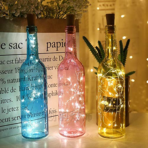 Decorative night light Battery Powered Garland Wine Bottle Lights with Cork 2M 20 LED Copper Wire Colorful Fairy Lights String for Party Wedding Decor ( Emitting Color : Red , Wattage : 2M 20leds )