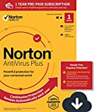 Norton AntiVirus Plus – Antivirus software for 1 Device with Auto-Renewal - Includes Password Manager, Smart Firewall and PC Cloud Backup - 2020 Ready [Download]
