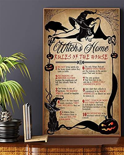 """BCTS Cartel de metal con diseño de bruja de gato con texto en inglés """"Reglas de la casa"""", divertido cartel de decoración de metal, 30,5 x 40,6 cm"""