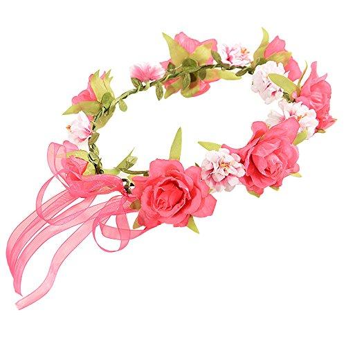 Mariage Couronne de mariée Bohème,Fathoit Fleurs Couronne de Mariée Couronne de Demoiselle D'honneur Courroie de Simulation de Fleurs artificielles Faites à la Main pour Décoration de Fête (Rose)