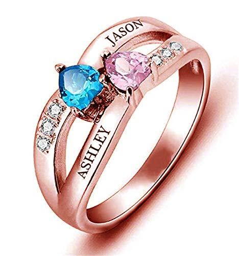 Yanday Anillo de Promesa Personalizado de Plata esterlina RTing Personalizado 2 Piedra de Nacimiento con Nombre(Oro Rosa 22.5)