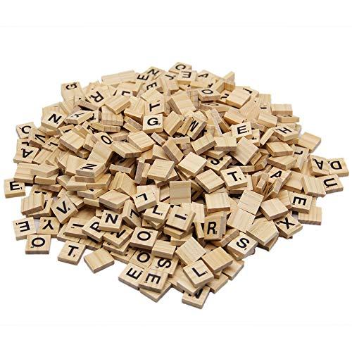 Zcaukya 500 Pcs Wooden Scrabble TilesWood Letter TilesScrabble Tiles for Crafts AZ Capital Letters for Crafts Pendants Spelling