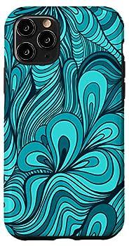 iPhone 11 Pro Teal Aqua Blue Turquoise & Black Doodle Swirl Pattern AEN028 Case