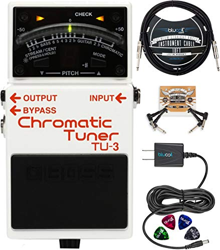 BOSS TU-3 Chromatic Tuner Pedal for Electric and Bass Guitars Bundle with Blucoil Slim 9V Power Supply AC Adapter, 10-FT Straight Instrument Cable (1/4in), 2x Patch Cables, and 4x Guitar Picks