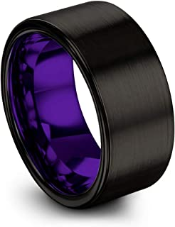 Tungsten Carbide Wedding Band Ring 10mm for Men Women Green Red Blue Purple Black Copper Fuchsia Teal Interior with Flat Cut Brushed Polished