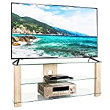 RFIVER Mueble de TV Salon de Esquinero de Cristal de Ancho de 120cm con Patas de Madera para Television hasta 60 Pulgadas con 3 Estantes TS3002
