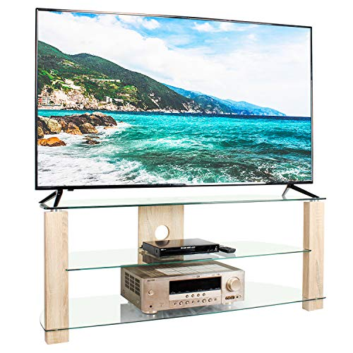 RFIVER Clear TV Unit Cabinet Stand 120cm Wide Corner Unit Entertainment with Tempered Glass Oak Legs Cable Management hold up to 40kgs TVs 3 Shelves TS3002