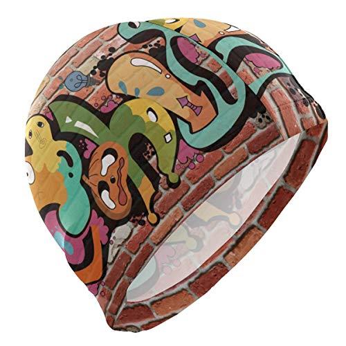 Tcerlcir Gorro Natación La Pintura del Arte del Graffiti Gorro de Piscina para Hombre y Mujer Hecho de Silicona Ideal para Pelo Largo y Corto