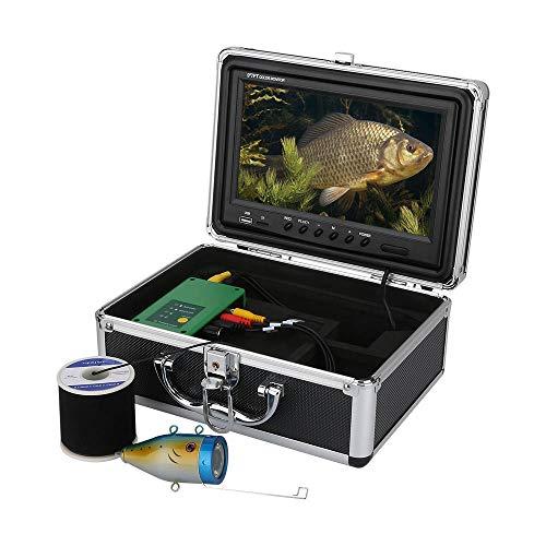 XINTONGSPP Buscador de Peces bajo el Agua, HD 9 Pulgadas 1000tvl Grabadora de DVR Finder de Pesca bajo el Agua Cámara de Pesca 15PCS LED Blancos, para Hielo/mar/de río Pesca,50m