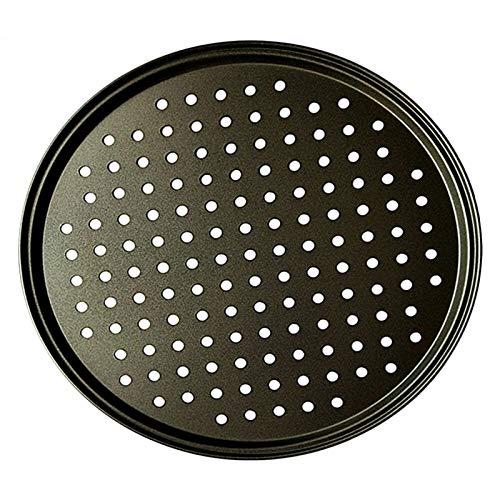 32 cm de acero al carbono antiadherente piedras de pizza pizza pan pizza hornear pan bandeja Malla bandeja placas platos hornear herramientas de hornear (Color : 32cm)