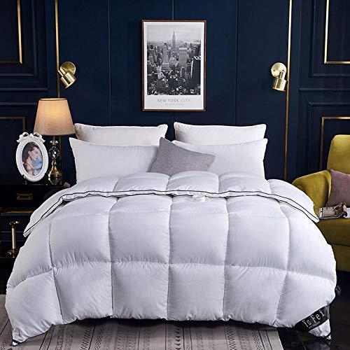 Hahaemall Duvets King Size Quilt White Goose Downfilled Winter Duvet -100% Cotton Anti Dust Mite & Down Proof Fabric - Anti Allergen-White_180x220cm-3Kg