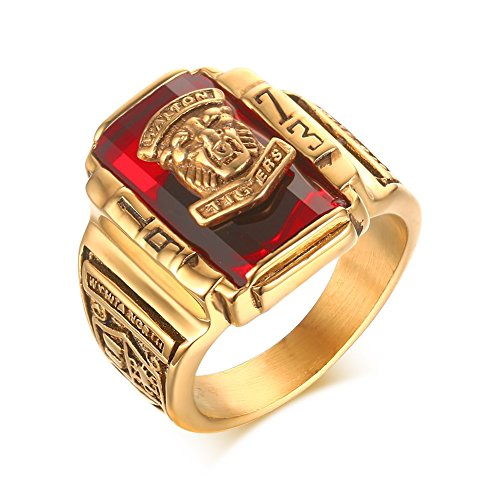 VNOX Stainless Steel Red Rhinestone 1973 Walton Tigers Signet Ring for Men,18K Gold Plated Size 7