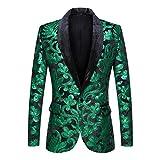 PYJTRL Men Fashion Velvet Sequins Floral Pattern Suit Jacket Blazer (Green, M)
