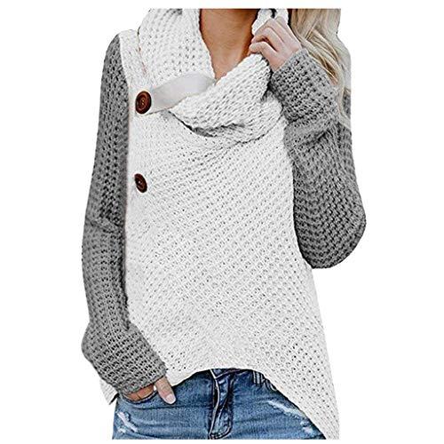 iHENGH Damen Herbst Winter Übergangs Warm Bequem Slim Lässig Stilvoll Frauen Langarm Solid Sweatshirt Pullover Tops Bluse Shirt(A Grau, M)