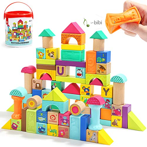 TOP BRIGHT Wooden Building Blocks Set for ToddlersBaby Blocks for 1 Year Old 80 Piece